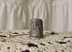 Vintage Pewter Thimble Toledo Spain Thimble by cynthiasattic
