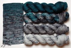 Ink Lot of 2 Matched Squoosh Fiber Arts Merino Silk Aran Singles