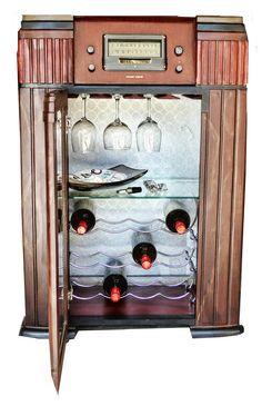 Vintage radio conversion to wine rack