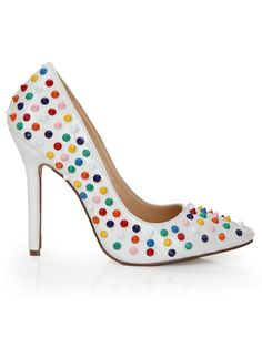 Women's Stiletto Heel Patent Leather Closed Toe With Rivet High Heels - Hebeos.com - multicolor~