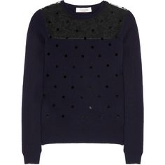 Valentino Polka-dot wool-blend and lace sweater (5,195 CNY) found on Polyvore polka dot sweaters 圆点毛衣 20121202