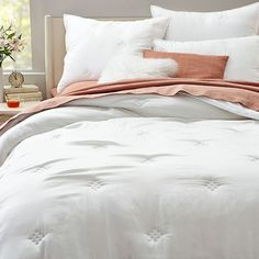 With its super smooth texture and silky softness, our Washed Silk Quilt & Shams bring lived-in luster to your bed. Subtle patterns are stitched in for some textural contrast. West Elm Bedding, Silk Blanket, Velvet Duvet, White Bedding, Neutral Bedding, Bedding Shop, New Room, Modern Furniture, Duvet Covers