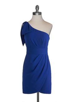 Cobalt dress with tulip hem and asymmetrical top.....love the color.... would have to see the dress on to decide if I like the style or not.
