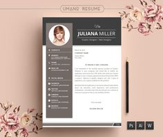 modern resume template free cover letter for word ai psd diy printable 3 pack the julianna professional and creative design