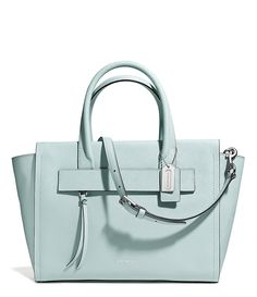 Coach Bleecker Riley Carryall in Saffiano Leather Satchel 30149 Silver Duck Egg