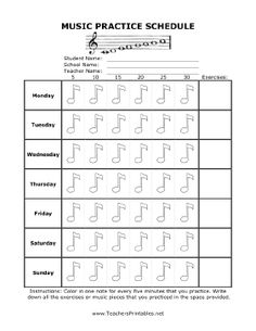 The days of the week are listed in rows in this free, printable music practice schedule. Music notes represent 5 minutes of practice and can be checked off up to 30 minutes a day. Names of musical pieces and exercises can be listed in a provided space. The form is decorated with a music staff and a scale. Free to download and print http://pinterest.com/search/pins/?q=music practice=rs