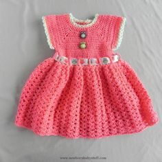 Crochet Baby Dress Buttons and Bows Crochet Baby Dress by MarkeysLegacy on Etsy...