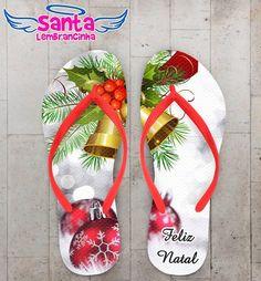 Chinelo Personalizado Feliz Natal, Sino de Natal