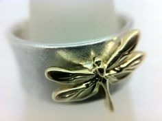 Gold Dragonfly on a Frosted Silver Band Creativity, Silver Rings, Jewellery, Band, Inspiration, Biblical Inspiration, Jewelery, Jewelry Shop, Bands