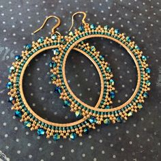 Items similar to Extra Large Aqua Crystal Seed Bead Hoop Earrings Beaded Jewelry Crystal Earrings on Etsy - Large Aqua Crystal Seed Bead Hoop Earrings Beaded Jewelry Beaded Earrings Patterns, Seed Bead Earrings, Diy Earrings, Jewelry Patterns, Bracelet Patterns, Crystal Earrings, Seed Beads, Beaded Jewelry, Handmade Jewelry