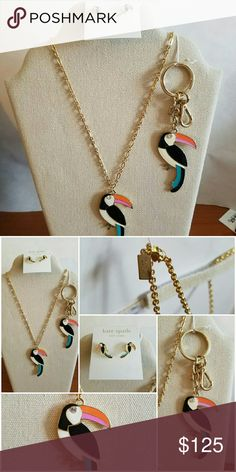 Kate Spade Toucan  earrings,  Key chain,  necklace New!  Comes with all 3 pieces! kate spade Jewelry Necklaces