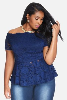 Plus Size Monika Off Shoulder Lace Top | Fashion to Figure