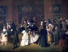 In the play, the characters attend a masquerade. This painting portrays a Renaissance masquerade ball.