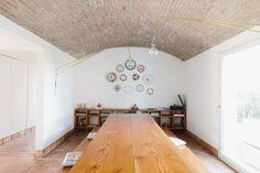 Casa Modesta: A Family House Turned Rural Retreat in Portugal's Algarve (Remodelista: Sourcebook for the Considered Home) Algarve, Door Design, House Design, White Porcelain Tile, Communal Kitchen, 1940s Home, Building A Kitchen, Long House, Shower Fixtures