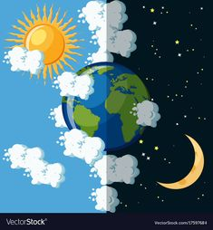 Stock vector of 'Day and night on the planet Earth concept. Sun on cloudy sky and moon on dark star sky around green and blue Earth globe. Educational geography for kids. Cartoon vector illustration in flat style. Earth Day And Night, Day For Night, Sun Moon Stars, Sun And Stars, Montessori Activities, Preschool Activities, Arte Do Sistema Solar, Planet Coloring Pages, Solar System Art