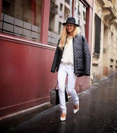 Shop this look on Kaleidoscope (jacket, sweater, jeans, pumps, hat)  http://kalei.do/WdOaGF6iXTm5eaVi