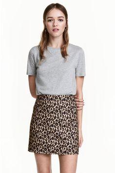 Jupe courte - Motif léopard - FEMME | H&M FR