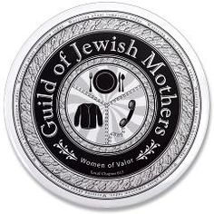 Guild of Jewish Mothers pin from Jewnion Label. Funny Jewish T-Shirts and More. Graphic Design.