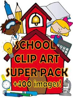 School clip art SUPER pack more than 400 images! I spend way to much time searching for clip art! Too Cool For School, School Fun, Pre School, School Ideas, School Clipart, Clip Art, Beginning Of School, Classroom Organization, Educational Activities