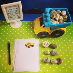 Phonics 2 - In this Dumptruck Phonics game, students will create words out of the stones. Then, the students will write the words on their truck paper. Teaching Letters, Teaching Phonics, Phonics Activities, Classroom Activities, Ks1 Classroom, Outdoor Classroom, Phase 4 Phonics, Phonics Blends, Reception Class