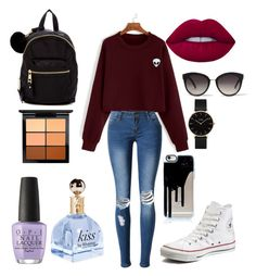 """""""Sans titre #10"""" by doryane-auclair on Polyvore featuring beauté, WithChic, Converse, Madden Girl, Lime Crime, OPI, MAC Cosmetics, River Island et CLUSE"""