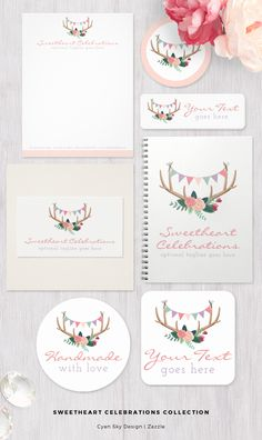 Sweetheart Celebrations Collection: Boutique branding at its sweetest! This fun and whimsical design brings together trendy floral antlers with playful party bunting elements. Perfect storefront styling for handmade children's products, party supplies and planning, and more! CyanSkyDesign on Zazzle.