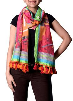 Spunky Digital Print Scarf available to shop at strandofsilk.com #summer #scarves