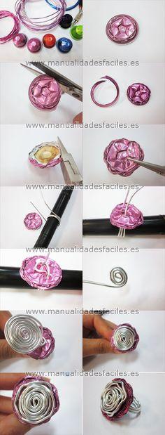 tuto bague fil d'aluminium et capsule nespresso Fournitures sur : http://www.rentreediscount.com/Activites-manuelles,57722.html