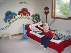 We love this Transportation wall treatment for a boy's nursery or big boy room.