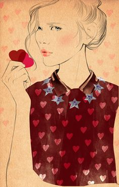 Sandra Suy. Valentine's Day fashion illustration on Artluxe Designs. #artluxedesigns