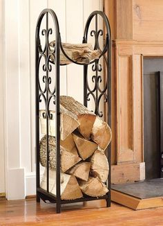 Elegant Fireplace Wood Rack Ideas Ornate Wrought Iron Accessories