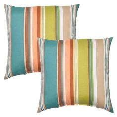 Hampton Bay 16 in. Bayport Stripe Outdoor Toss Pillow (2-Pack)-7050-02224400 - The Home Depot