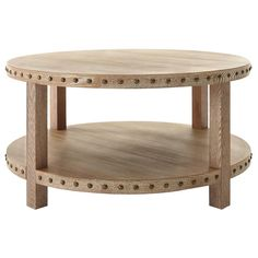Home Decorators Collection Nailhead Light Washed Oak Coffee Table-9927200970 - The Home Depot