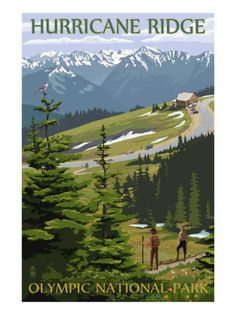 National park poster - Hurricane Ridge, Olympic National Park, Washington It is like standing on top of the world!