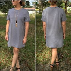 Hairline striped dress Black/white hairline striped t-shirt dress. So easy to wear and comfortable. Please do not purchase this listing. Comment with size and I will create a new listing for you. Small (2/4) Medium (6/8) Large (10/12). Price is firm unless bundled. Dresses