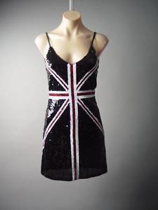 1b03cc6eda9 Details about Red British Union Jack Sequin UK Flag Glam Rock&Roll Party  Punk 154 mv Dress S/M