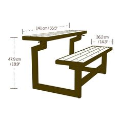 Wood Grain Convertible Bench Rust-Resistant All-Weather Fnish (Convertible Bench Picnic Table) Made with Polystyrene, Powder-Coated Steel, Recycled Plastic in Brown Color x in.