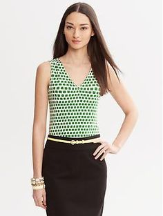 03021cdfb18 Green Luxe-Touch Abstract Print Tank  20 Banana Republic Jeans For Sale