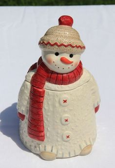 "New Never Used Hallmark Snowman Cookie Jar 9"" tall"