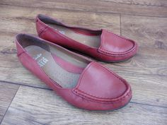 Details about SIZE UK 5 D CLARKS ACTIVE AIR GILDED OPAL RED LEATHER LOAFERS  CASUAL FLAT SHOES