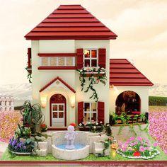 Dollhouse casa rojo ladrillo Villa miniatura Kit hecho a mano