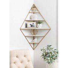 Melora 22 in. x 36 in. x 11 in. White/Gold Decorative Wall Shelf