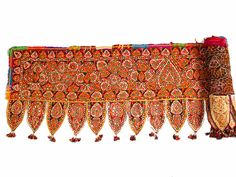 160 X 26 Antique Old Vinatge Banjara Indian Gujarat Kutchi Handmade Embroidery Mirror Work Toran Valance & Trims Wall hanging Decor Hanging Piercing Orbital, Bohemian House, Mirror Work, Almost Always, Silk Fabric, Valance, Pure Products, Embroidery, Antiques
