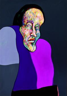 ERNESTO DEIRA, Retrato imaginario y planos, Acrílico sobre lienzo, 99 x 70 cm.
