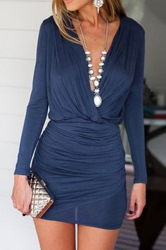 Solid Color Bodycon Plunging Neck Dress