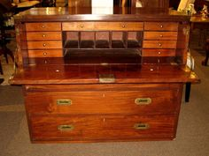 Handsome antique mahogany campaign desk just $699.00! SOLD!!