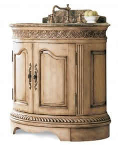 Pull out Step Stool with this Antique White Single!  34 Inch Single Sink Bathroom Vanity with Emperador Marble