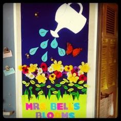 A classroom door bulletin board display