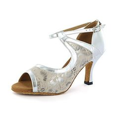 Customizable Women's Dance Shoes Latin Leatherette Chunky Heel Black/Blue/White/Silver 2016 - $35.74