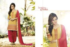 Readymade yellow cotton Patiala Suit
